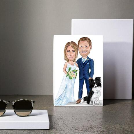 Caricature of Bride, Groom and Pet for Wedding - example
