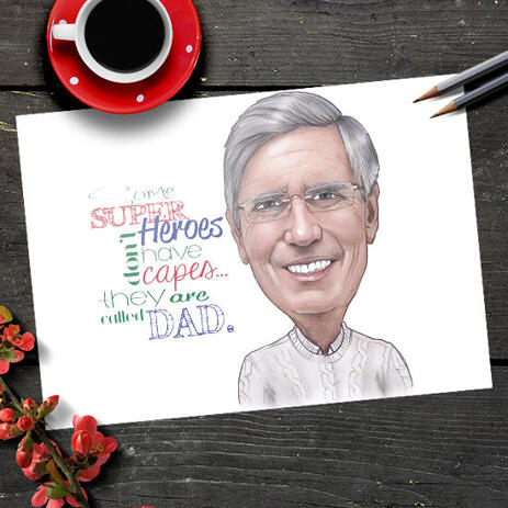 Print on Poster Gift for Him - Male Cartoon Portrait in Color Style for Father Day - example