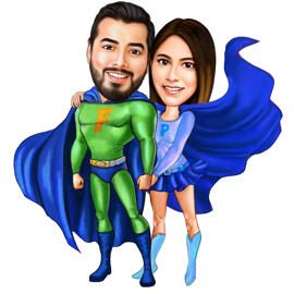 Superhero Couple Caricature for Valentines Day Gift