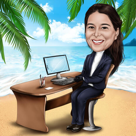 Business Person Vacation Caricature in Color Style from Photos - example