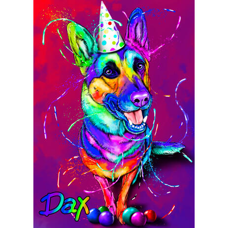 German Shepherd Party Caricature Portrait in Watercolor Style with Colored Background - example
