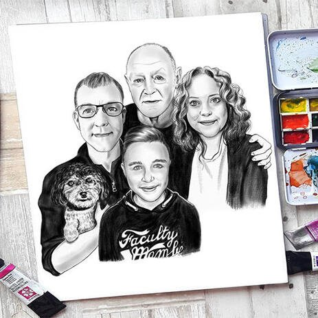 Family with Pet Caricature in Black and White Style for Custom Poster Gift - example