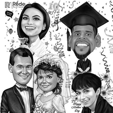 Any Holiday Caricature in Black and White Style - example