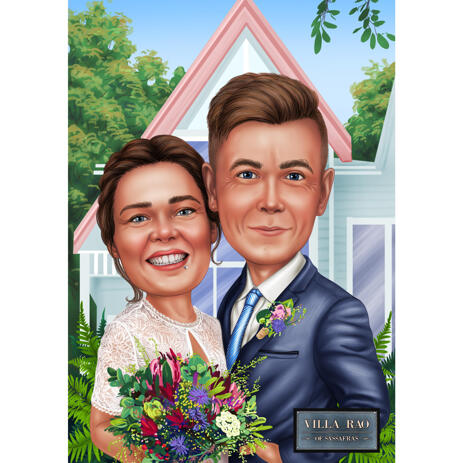 Just Married Couple Wedding Caricature in Colored Style with Home Background - example