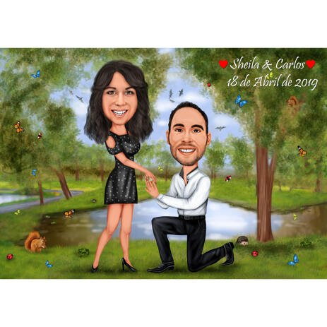 Couple Marriage Proposal Colored Style Cartoon Drawing with Nature Background - example