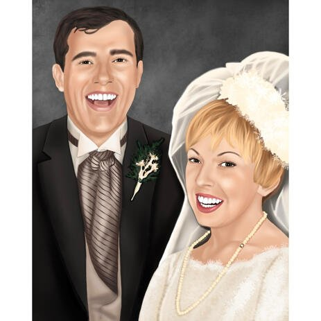 Bride and Groom Wedding Portrait from Photos in Colored Style with Background - example