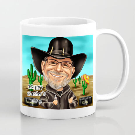 Print on Mug: Customized Caricature Drawing in Colored Digital Style - example