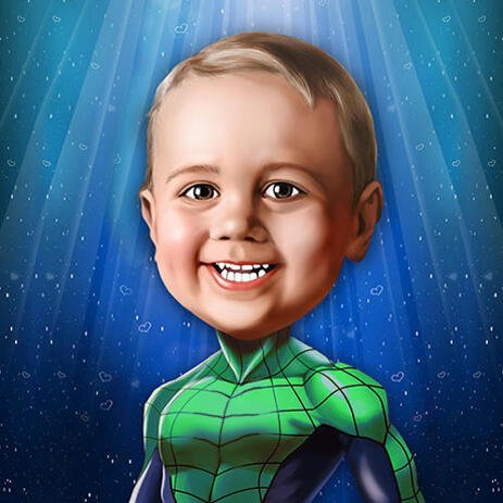 Superhero Kid Caricature from Photos in Digital Style - example