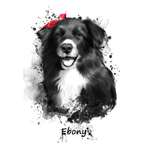 Pet Portrait Cartoon Drawing with Name in Watercolor Charcoal Graphite Style - example