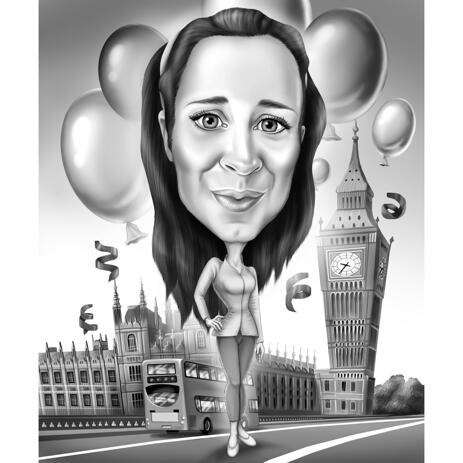 Full Body Caricature from Photos in Black and White with Custom Background - example