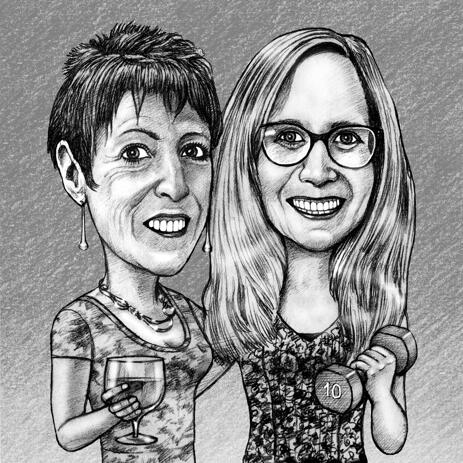 Mother to Daughter Caricature Gift for Mother's Day - example