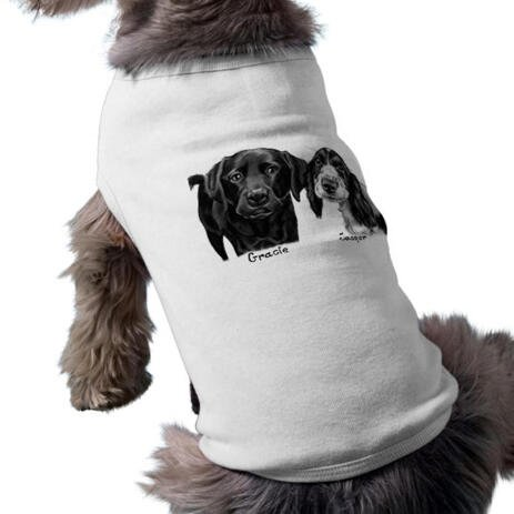 Dogs Portrait on Printed Pet Shirt - example