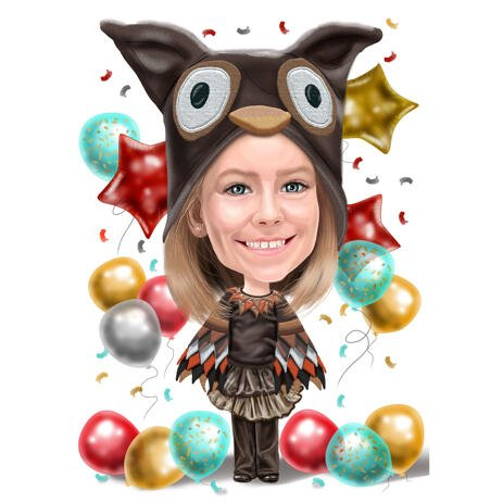 Custom Birthday Girl Caricature from Photos in Colored Style - example