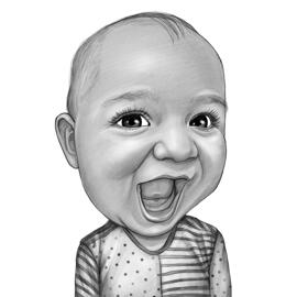 Kid Caricature Drawing From Photo in Black and White Pencils