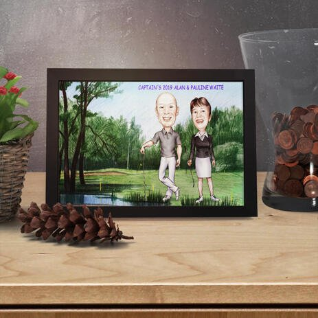 Couple Golf Lovers Caricature in Color Style from Photos on Poster Print - example
