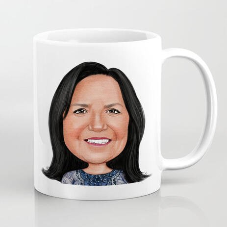 Print on Mug: Digital Cartoon Drawing from Photo for Mother's Day Gift - example