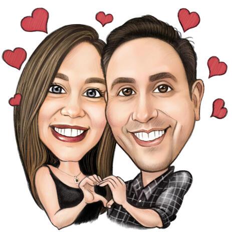 色鉛筆スタイルで面白いロマンチックなカップルの似顔絵を描く - example