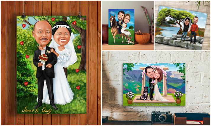 Wedding Caricature Poster large example