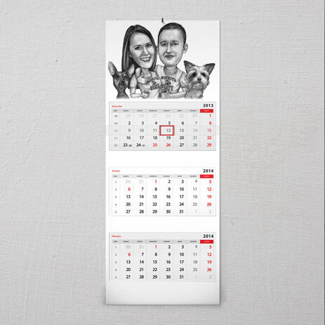 Group Pets Caricature on Calendar - example