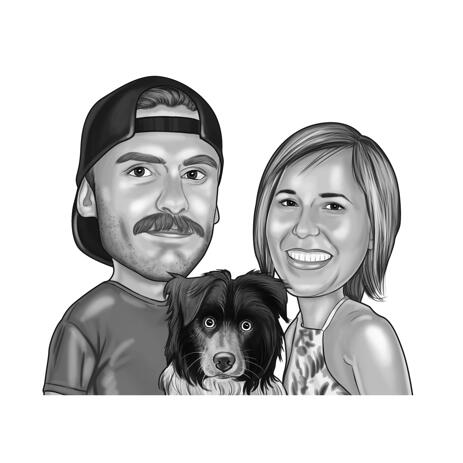Couple with Collie Puppy Cartoon Portrait in Black and White Style - example