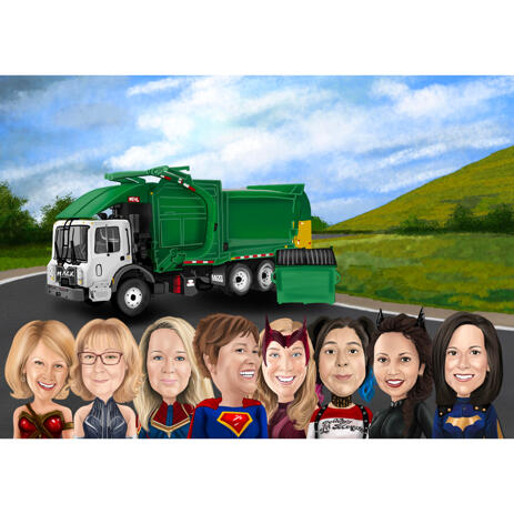 Custom Superhero Team Cartoon Portrait in Color Style with Truck in Background - example