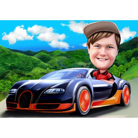 Kid in Car Caricature from Photos for Kid Birthday Gift - example