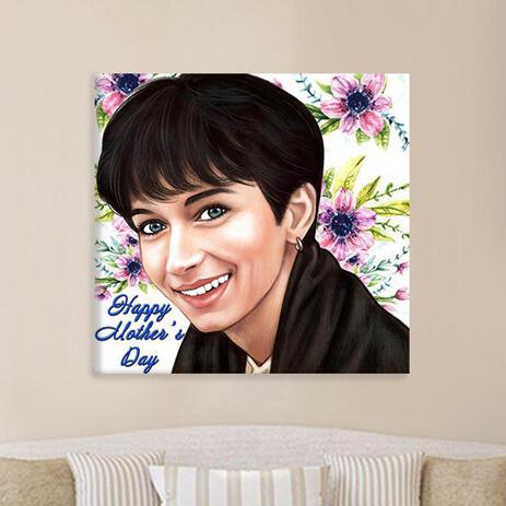 Druck auf Leinwand: Personalisierte Porträtzeichnung im Stil von Farbstiften - example
