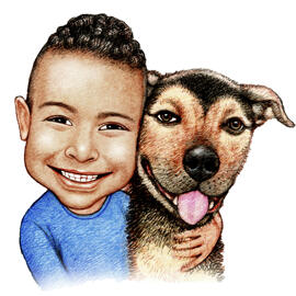 Kid and Pet Caricature Drawing in Colored Pencils Style