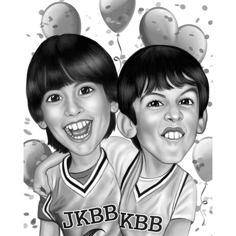 Happy Birthday Caricature from Photos in Digital Style for Boys - example