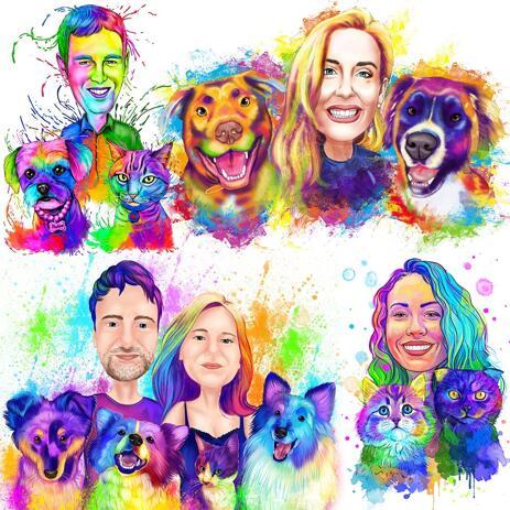 Husdjur med ägaren Vattenfärg Rainbow Portrait - example