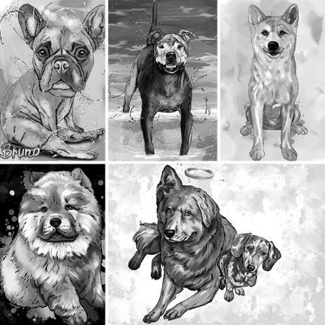 Full Body Graphite Dog Portrait from Photos with Custom Background - example