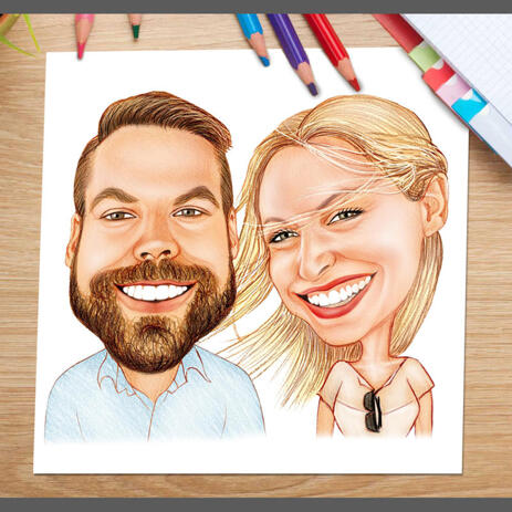 Happy Couple Caricature as Poster Print - Gift for Friends - example