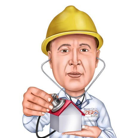 Custom Head and Shoulders Architects Caricature from Photo - example