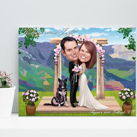 Custom Wedding Gift - Caricature Printed on Canvas - example