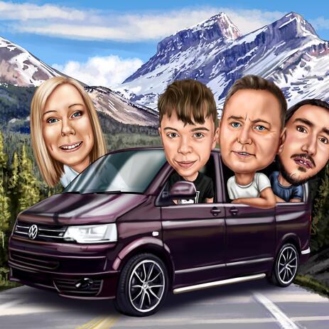 Familiekarikatur i bil tegnet fra fotos til familiekort - example