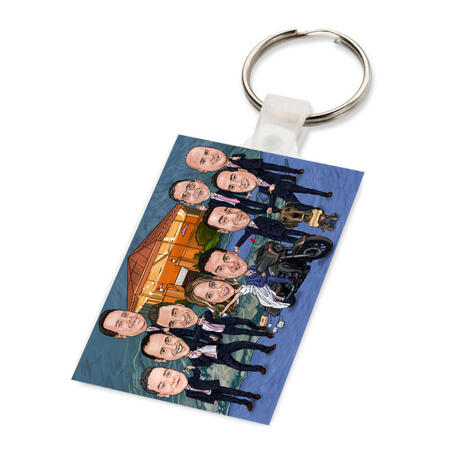 Group Wedding Caricature for Wedding Keyring Gift - example