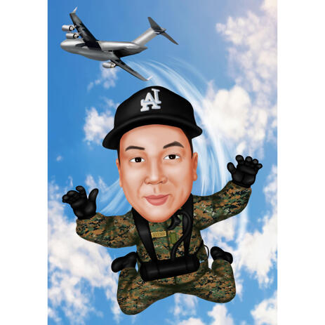 Full Body Paratrooper Funny Cartoon Drawing in Colored Style from Photos - example