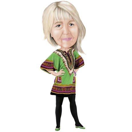 Full Body Cartoon Portrait from Photo of Woman in Colored Digital Style - example