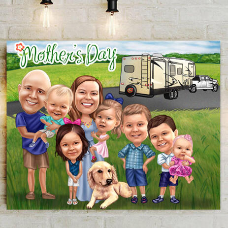 Personalized Canvas: Colored Digital Cartoon Drawing of Family - example