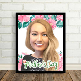Photo Print: Personalized Digital Cartoon Portrait Drawing from Photo