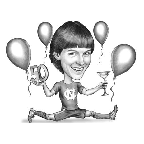 Black and White Birthday Caricature Drawing for Boy in Pencil Style - example