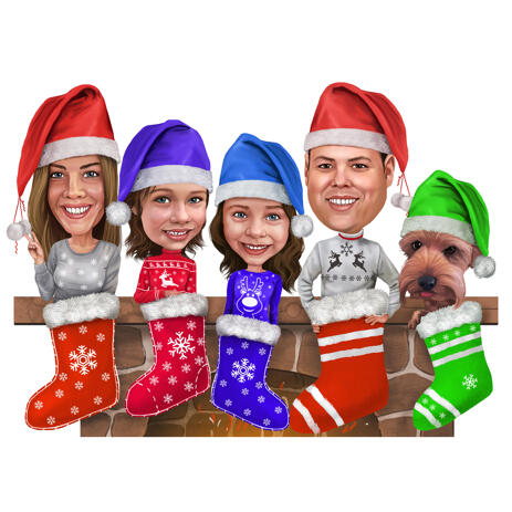 Family in Christmas Stockings Caricature for Christmas Card - example
