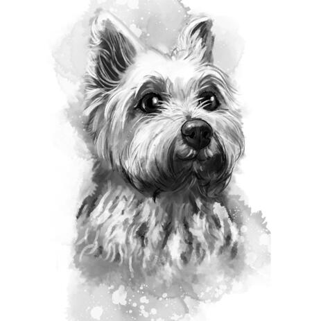 Yorkshire Terrier Cartoon Portrait Painting from Photos in Graphite Style - example