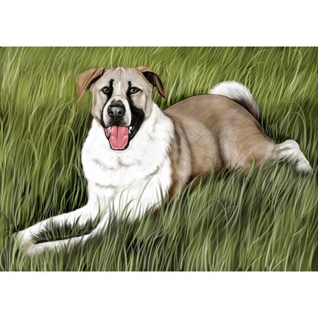 Dog Portrait from Photos in Colored Style with Background - example