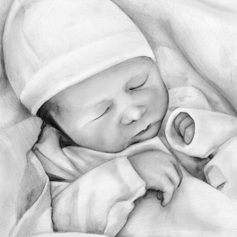 Smuk Kid Portrait Tegning i sort / hvid blyanter - example
