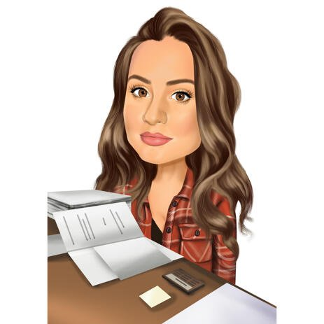 Person in Workspace Desk Caricature in Colored Style with Colorless Background - example