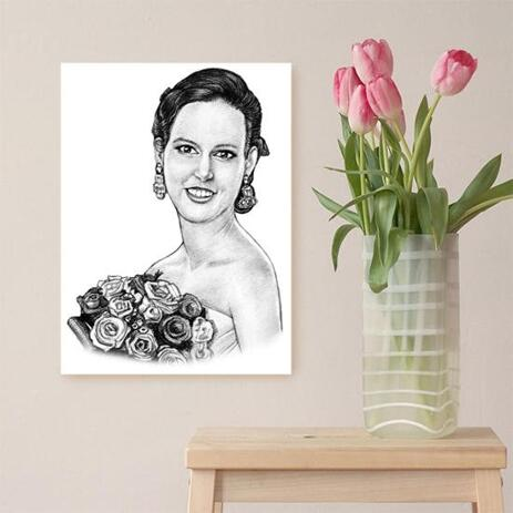 Bride Portrait from Photos on Canvas - example