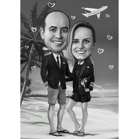 Black and White Couple Professions Caricature - Pilots on Beach with Background - example