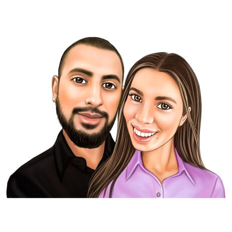 Couple Portrait Painting from Photos Hand Drawn in Colored Style - example