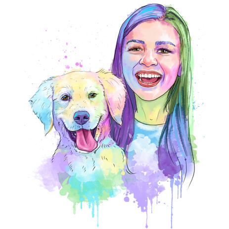 Owner with Pet Portrait in Watercolor Pastel Coloring - example